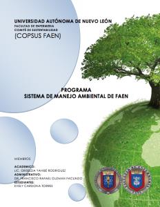 PROGRAMA DE SISTEMA DE MANEJO AMBIENTAL DE LA FAEN