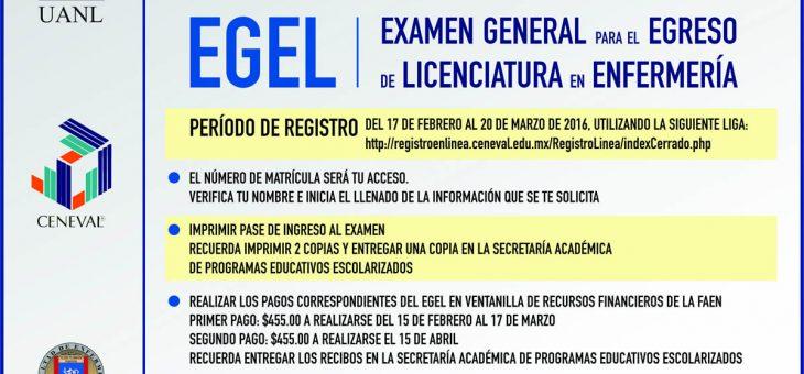 EGEL – Examen general para el Egreso de Licenciatura en Enfermería 2016