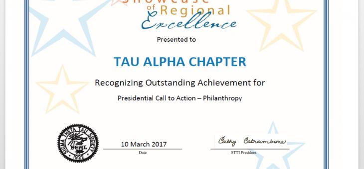 Recibe el capítulo Tau ALPHA reconocimiento Showcase of Regional Excellence