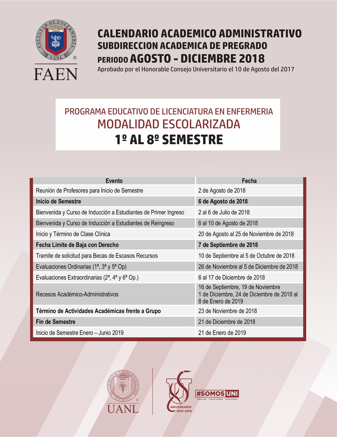 Calendario 2019 Agosto A Diciembre.Calendarios Facultad De Enfermeria Uanl